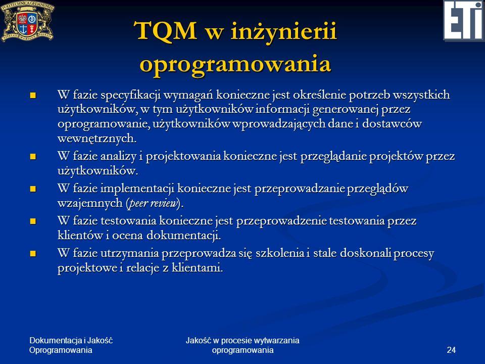 Dokumentacja i Jakość Oprogramowania 24 Jakość w procesie wytwarzania oprogramowania TQM w inżynierii oprogramowania W fazie specyfikacji wymagań koni