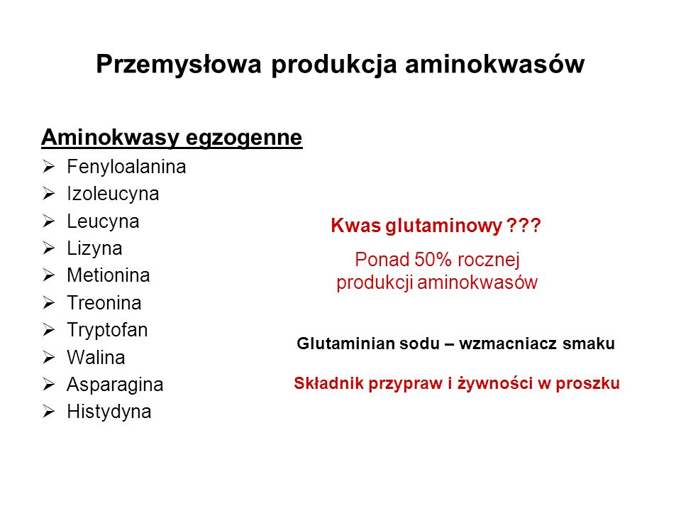 Przemysłowa produkcja aminokwasów Aminokwasy egzogenne Fenyloalanina Izoleucyna Leucyna Lizyna Metionina Treonina Tryptofan Walina Asparagina Histydyn