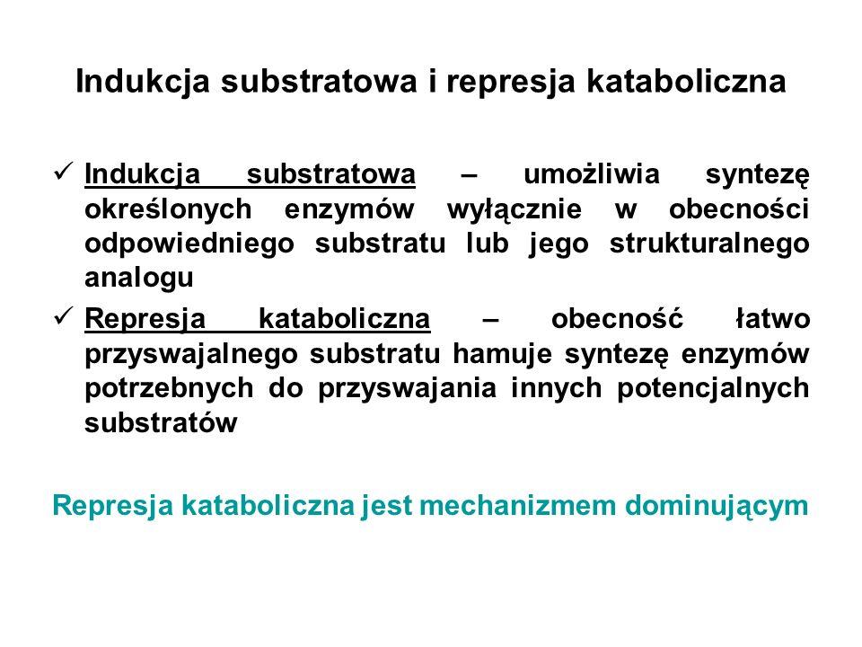 Indukcja substratowa i represja kataboliczna EnzymZastosowanie przemysłowe Indukcja substratowa Represja kataboliczna β-galaktozydazaprzemysł mleczarski laktoza, IPTGglukoza amyloglukozydazaprzetwórstwo skrobi skrobia, dekstrynyglukoza, laktoza, kwas glutaminowy α-amylazaprzetwórstwo skrobi maltotetrozaglukoza, laktoza, kwas glutaminowy izomeraza glukozowa przetwórstwo skrobi ksyloza, ksylanglukoza Degradacja substratów wielkocząsteczkowych Przyswajanie związków małocząsteczkowych IPTG – izopropylo-β-D-tiogalaktopiranozyd