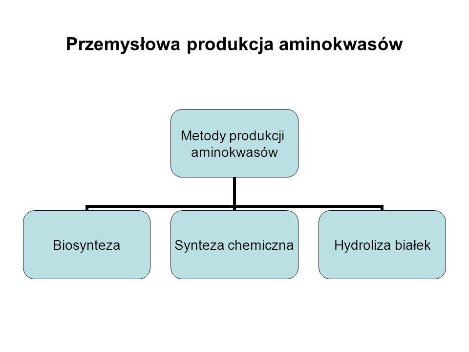 Przemysłowa produkcja aminokwasów Metody produkcji aminokwasów Biosynteza Synteza chemiczna Hydroliza białek