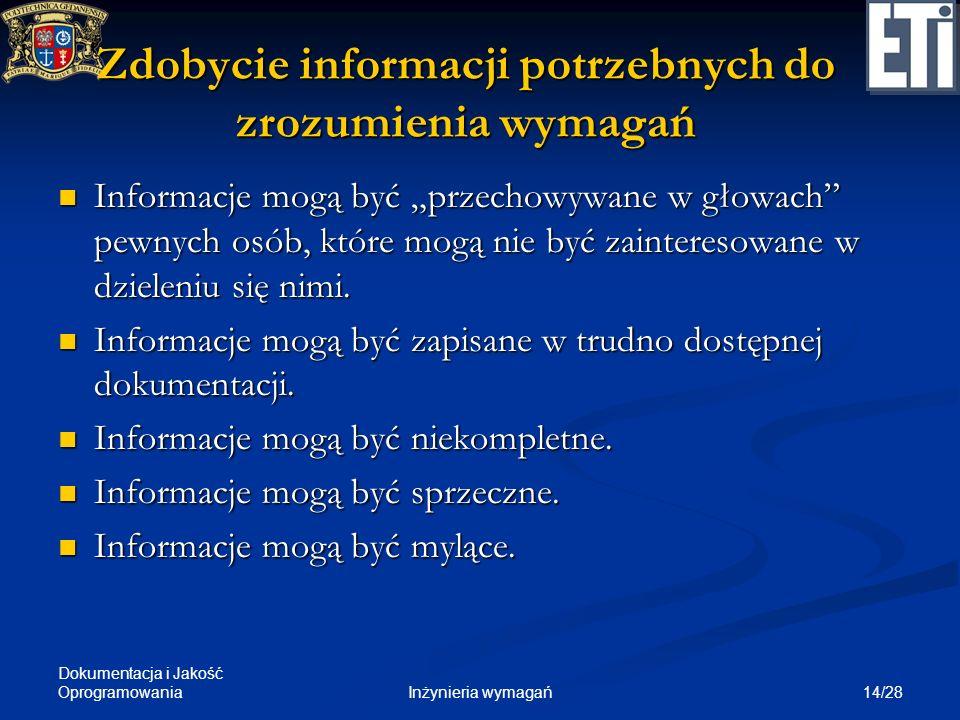 Dokumentacja i Jakość Oprogramowania 14/28Inżynieria wymagań Zdobycie informacji potrzebnych do zrozumienia wymagań Informacje mogą być przechowywane