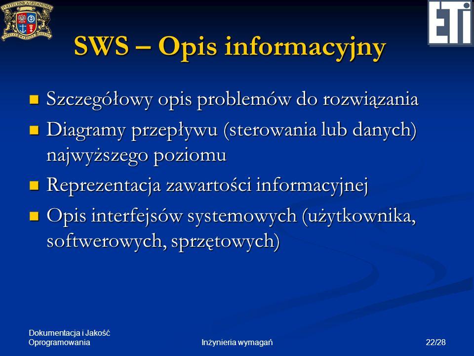 Dokumentacja i Jakość Oprogramowania 22/28Inżynieria wymagań SWS – Opis informacyjny Szczegółowy opis problemów do rozwiązania Szczegółowy opis proble