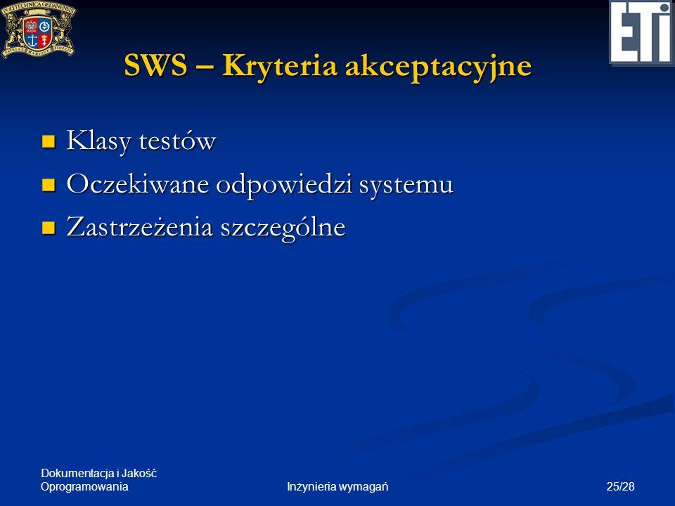 Dokumentacja i Jakość Oprogramowania 25/28Inżynieria wymagań SWS – Kryteria akceptacyjne Klasy testów Klasy testów Oczekiwane odpowiedzi systemu Oczek