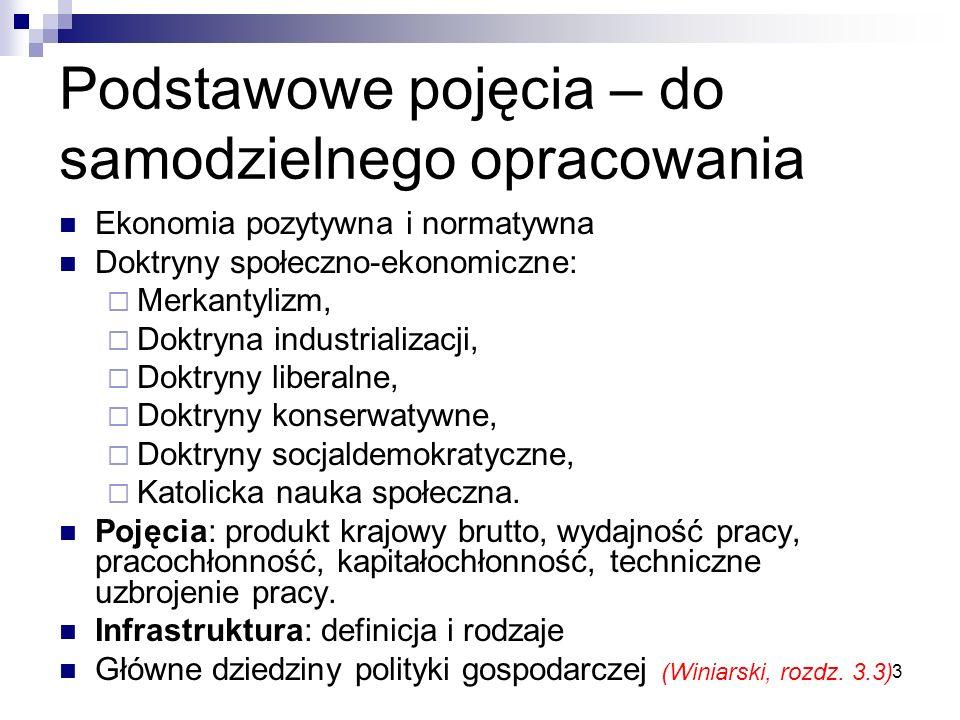 3 Podstawowe pojęcia – do samodzielnego opracowania Ekonomia pozytywna i normatywna Doktryny społeczno-ekonomiczne: Merkantylizm, Doktryna industriali
