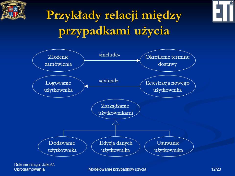 Dokumentacja i Jakość Oprogramowania 12/23Modelowanie przypadków użycia Przykłady relacji między przypadkami użycia Zarządzanie użytkownikami Dodawani