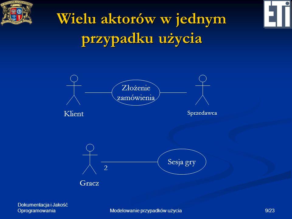 Dokumentacja i Jakość Oprogramowania 9/23Modelowanie przypadków użycia Wielu aktorów w jednym przypadku użycia Złożenie zamówienia Klient Sesja gry Gr