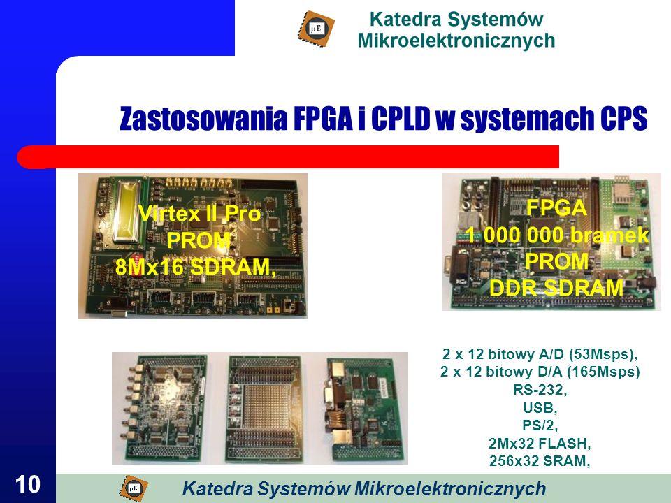 10 Zastosowania FPGA i CPLD w systemach CPS FPGA 1 000 000 bramek PROM DDR SDRAM 2 x 12 bitowy A/D (53Msps), 2 x 12 bitowy D/A (165Msps) RS-232, USB,