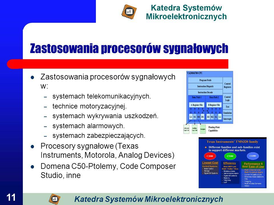 11 Zastosowania procesorów sygnałowych Zastosowania procesorów sygnałowych w: – systemach telekomunikacyjnych. – technice motoryzacyjnej. – systemach