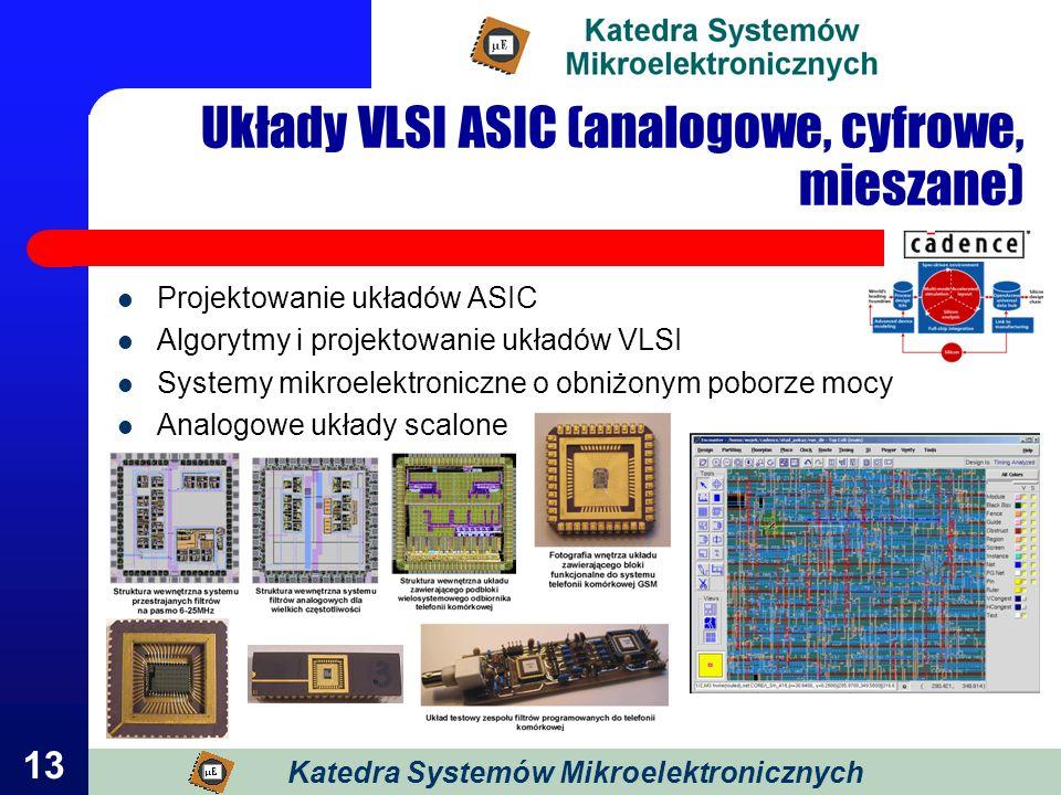 13 Układy VLSI ASIC (analogowe, cyfrowe, mieszane) Projektowanie układów ASIC Algorytmy i projektowanie układów VLSI Systemy mikroelektroniczne o obni