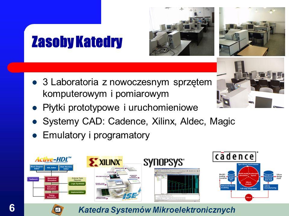 6 Zasoby Katedry 3 Laboratoria z nowoczesnym sprzętem komputerowym i pomiarowym Płytki prototypowe i uruchomieniowe Systemy CAD: Cadence, Xilinx, Alde