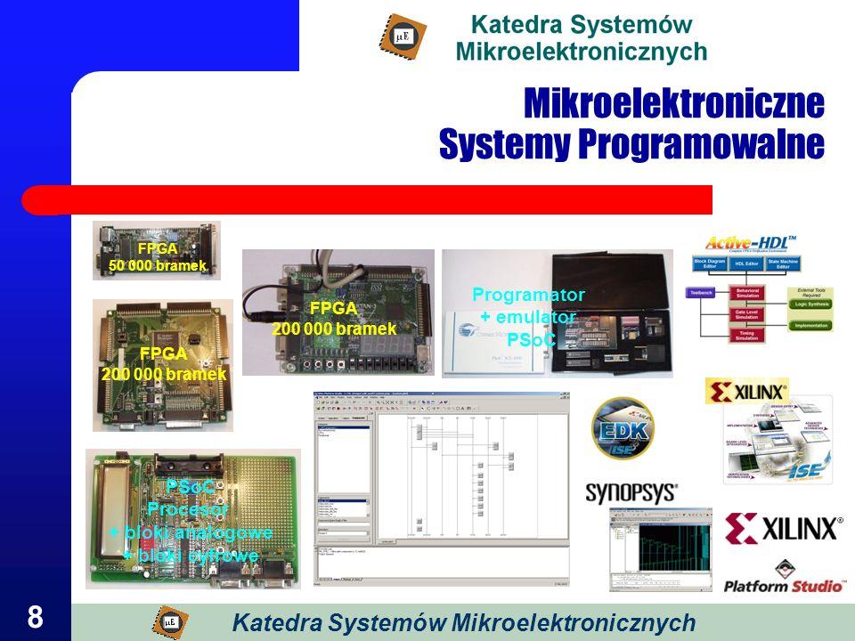 8 Mikroelektroniczne Systemy Programowalne Katedra Systemów Mikroelektronicznych FPGA 50 000 bramek FPGA 200 000 bramek PSoC Procesor + bloki analogow