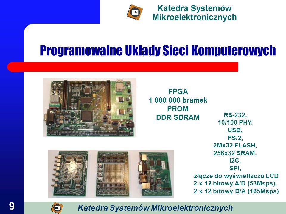 9 Programowalne Układy Sieci Komputerowych FPGA 1 000 000 bramek PROM DDR SDRAM RS-232, 10/100 PHY, USB, PS/2, 2Mx32 FLASH, 256x32 SRAM, I2C, SPI, złą