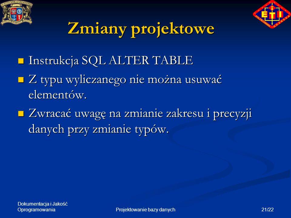 Dokumentacja i Jakość Oprogramowania 21/22Projektowanie bazy danych Zmiany projektowe Instrukcja SQL ALTER TABLE Instrukcja SQL ALTER TABLE Z typu wyl