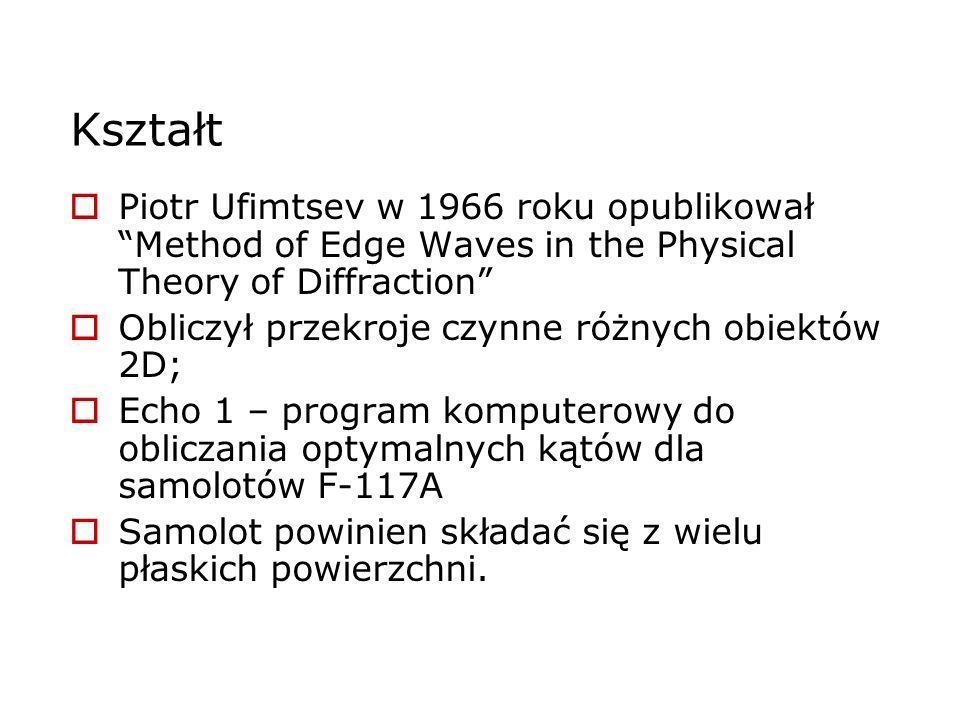 Kształt Piotr Ufimtsev w 1966 roku opublikował Method of Edge Waves in the Physical Theory of Diffraction Obliczył przekroje czynne różnych obiektów 2