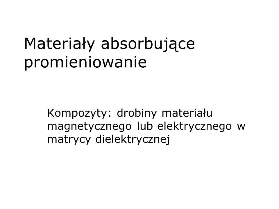 Materiały absorbujące promieniowanie Kompozyty: drobiny materiału magnetycznego lub elektrycznego w matrycy dielektrycznej