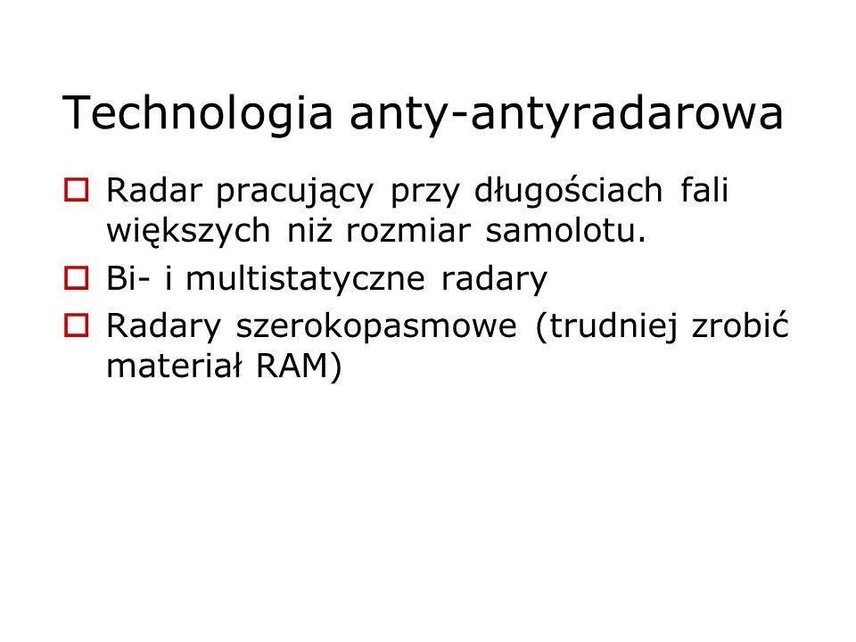 Technologia anty-antyradarowa Radar pracujący przy długościach fali większych niż rozmiar samolotu. Bi- i multistatyczne radary Radary szerokopasmowe