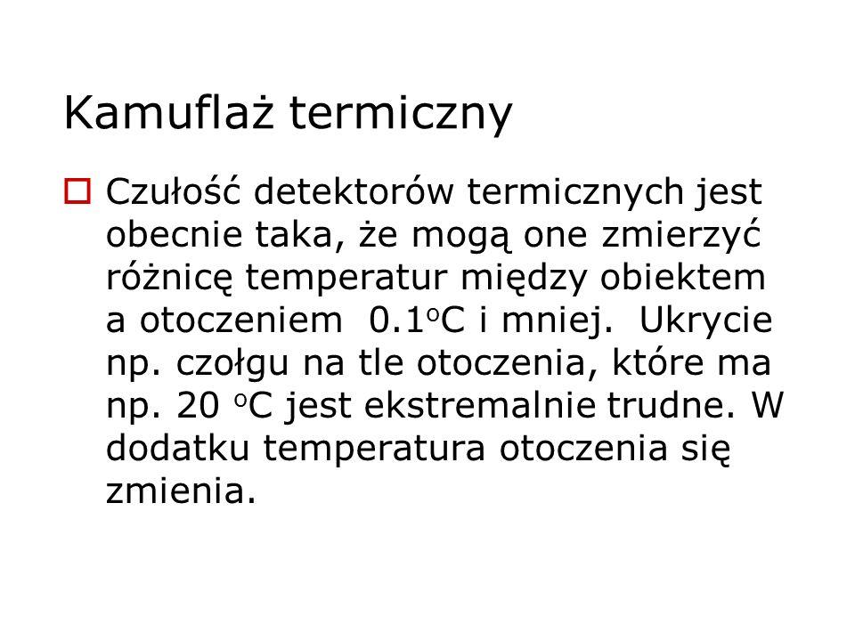 Kamuflaż termiczny Czułość detektorów termicznych jest obecnie taka, że mogą one zmierzyć różnicę temperatur między obiektem a otoczeniem 0.1 o C i mn