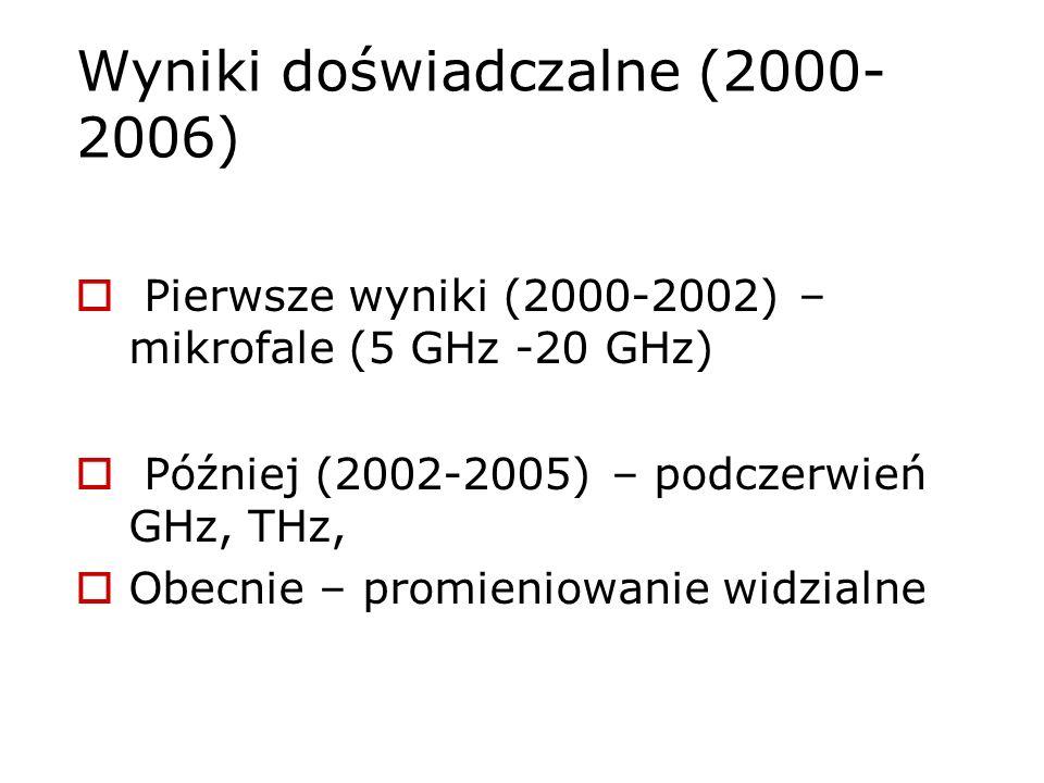 Wyniki doświadczalne (2000- 2006) Pierwsze wyniki (2000-2002) – mikrofale (5 GHz -20 GHz) Później (2002-2005) – podczerwień GHz, THz, Obecnie – promie