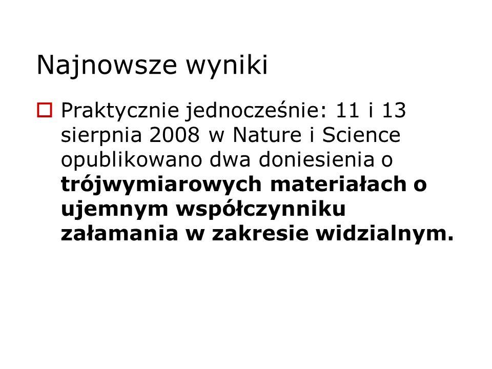Najnowsze wyniki Praktycznie jednocześnie: 11 i 13 sierpnia 2008 w Nature i Science opublikowano dwa doniesienia o trójwymiarowych materiałach o ujemn