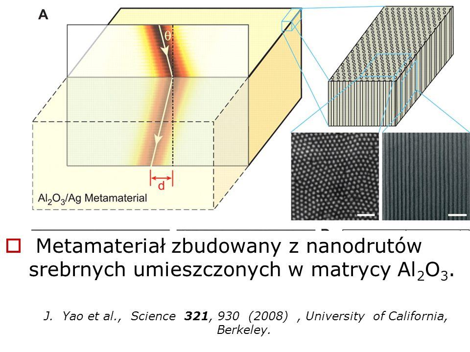 Metamateriał zbudowany z nanodrutów srebrnych umieszczonych w matrycy Al 2 O 3. J. Yao et al., Science 321, 930 (2008), University of California, Berk