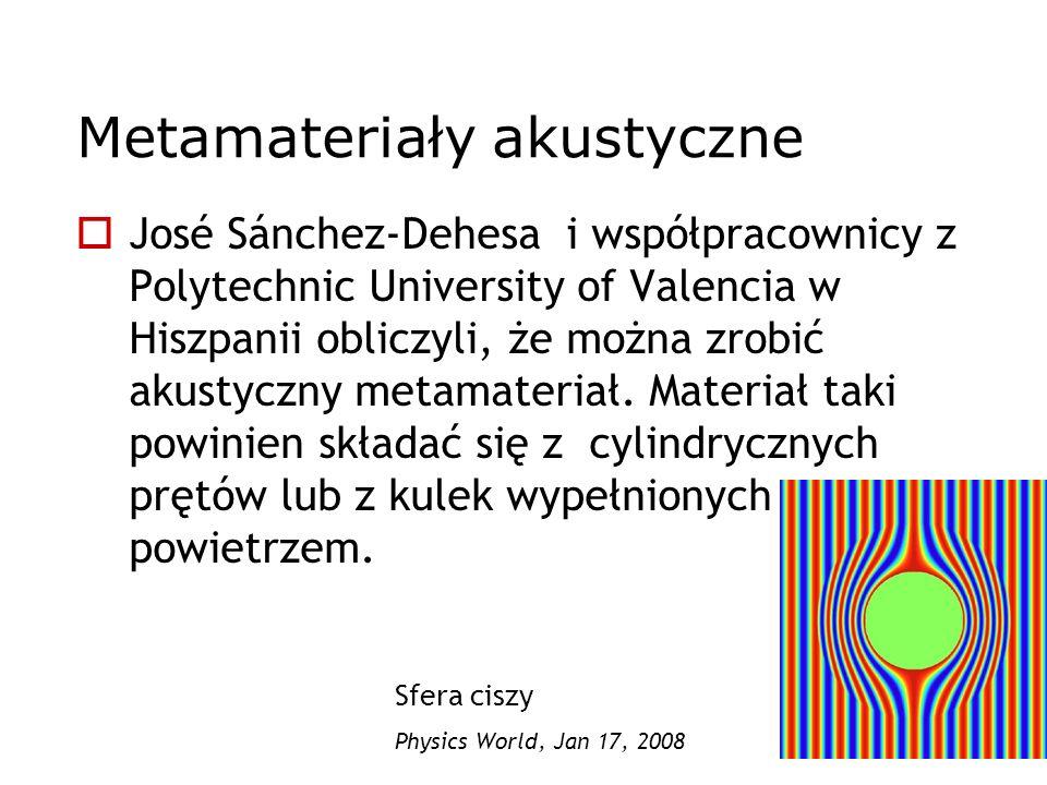 Metamateriały akustyczne José Sánchez-Dehesa i współpracownicy z Polytechnic University of Valencia w Hiszpanii obliczyli, że można zrobić akustyczny