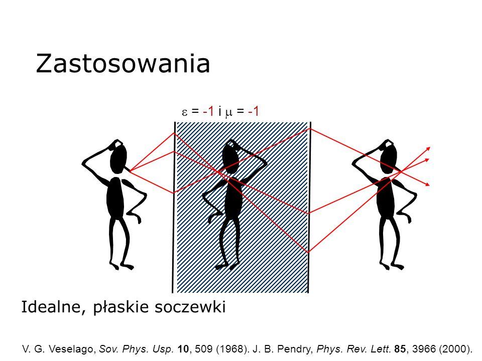 Idealne, płaskie soczewki = -1 i = -1 V. G. Veselago, Sov. Phys. Usp. 10, 509 (1968). J. B. Pendry, Phys. Rev. Lett. 85, 3966 (2000). Zastosowania