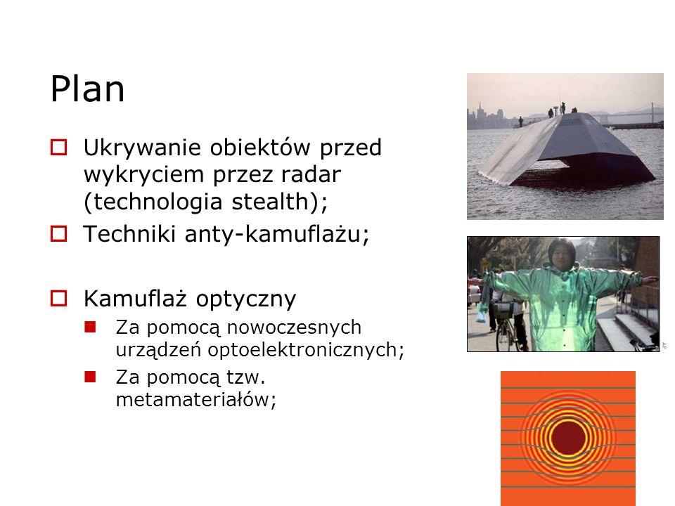 Plan Ukrywanie obiektów przed wykryciem przez radar (technologia stealth); Techniki anty-kamuflażu; Kamuflaż optyczny Za pomocą nowoczesnych urządzeń