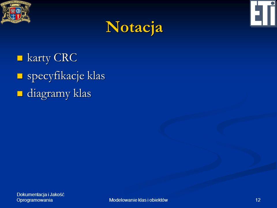 Dokumentacja i Jakość Oprogramowania 12Modelowanie klas i obiektów Notacja karty CRC karty CRC specyfikacje klas specyfikacje klas diagramy klas diagr
