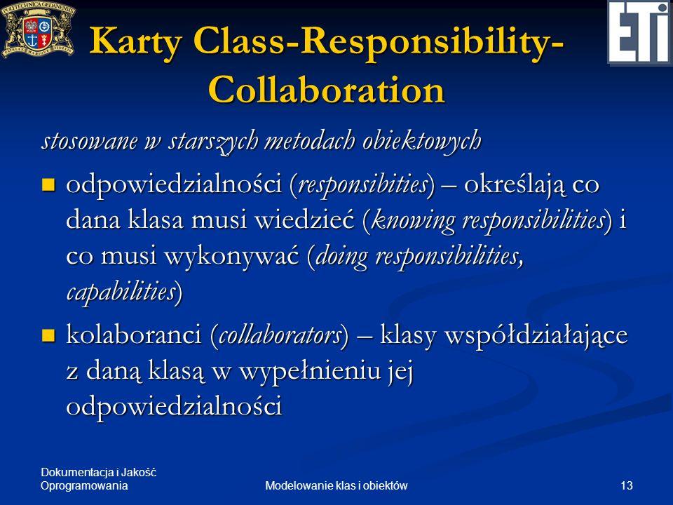 Dokumentacja i Jakość Oprogramowania 13Modelowanie klas i obiektów Karty Class-Responsibility- Collaboration stosowane w starszych metodach obiektowyc