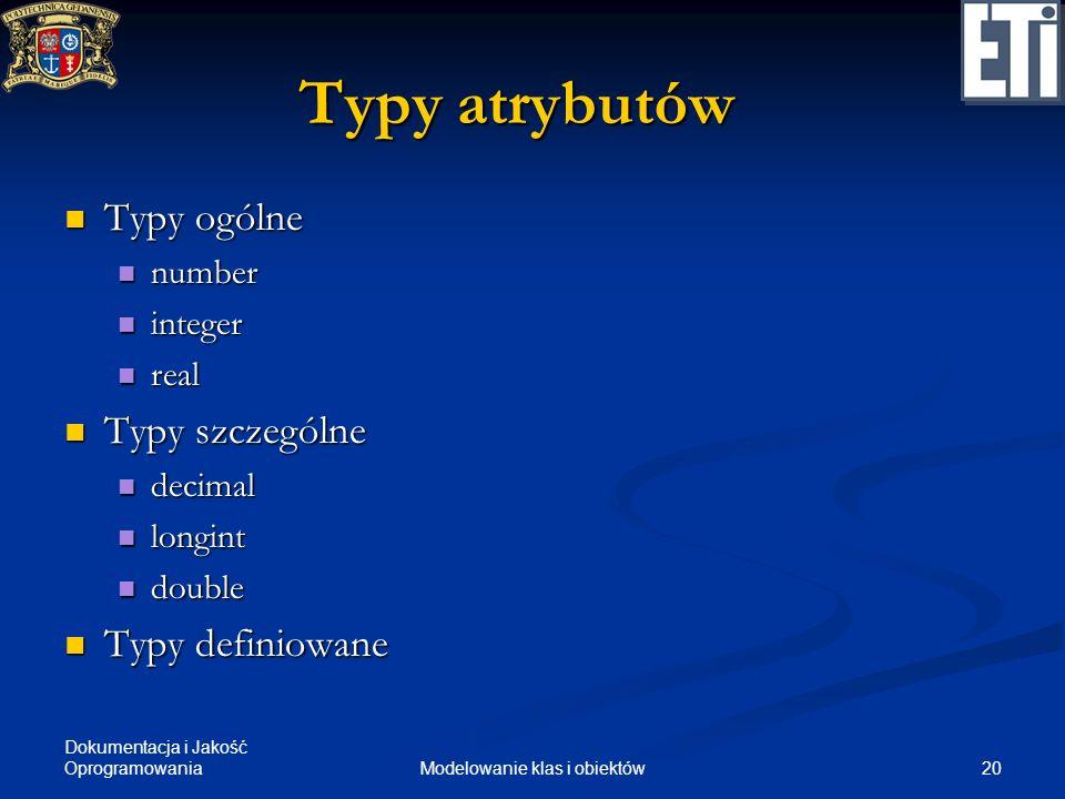 Dokumentacja i Jakość Oprogramowania 20Modelowanie klas i obiektów Typy atrybutów Typy ogólne Typy ogólne number number integer integer real real Typy