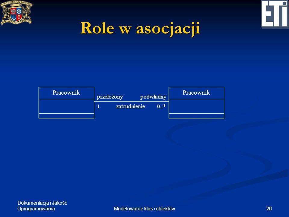 Dokumentacja i Jakość Oprogramowania 26Modelowanie klas i obiektów Role w asocjacji Pracownik przełożonypodwładny Pracownik 10..*zatrudnienie