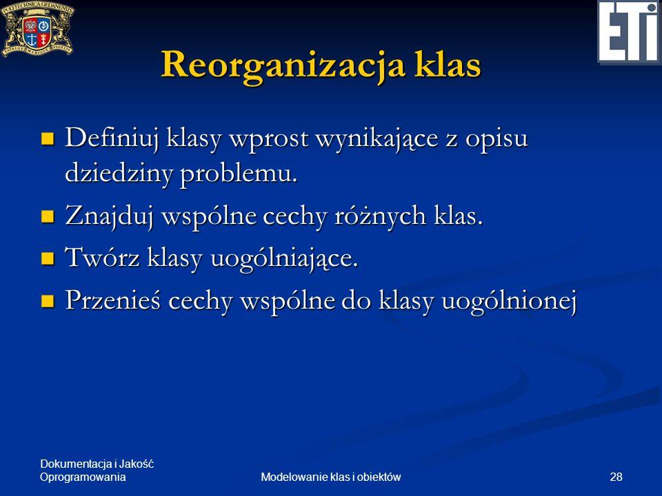 Dokumentacja i Jakość Oprogramowania 28Modelowanie klas i obiektów Reorganizacja klas Definiuj klasy wprost wynikające z opisu dziedziny problemu. Def