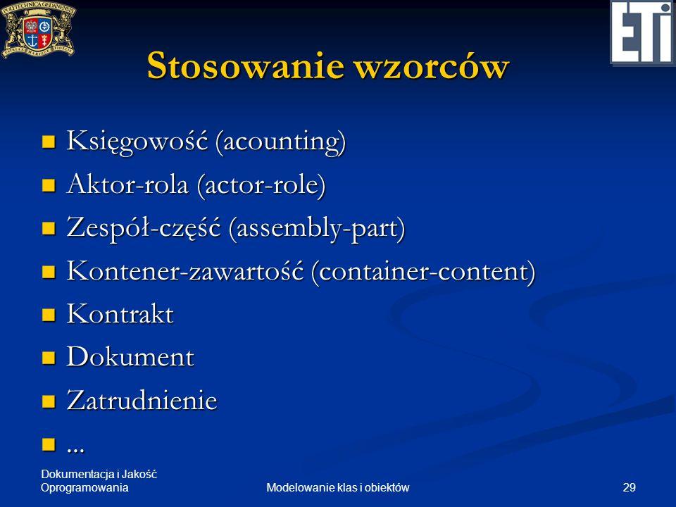 Dokumentacja i Jakość Oprogramowania 29Modelowanie klas i obiektów Stosowanie wzorców Księgowość (acounting) Księgowość (acounting) Aktor-rola (actor-