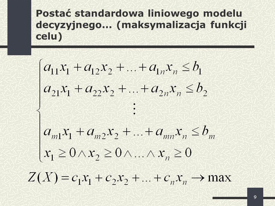 10 Postać standardowa liniowego modelu decyzyjnego... (minimalizacja funkcji celu)