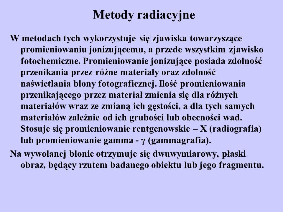 Metody radiacyjne W metodach tych wykorzystuje się zjawiska towarzyszące promieniowaniu jonizującemu, a przede wszystkim zjawisko fotochemiczne. Promi