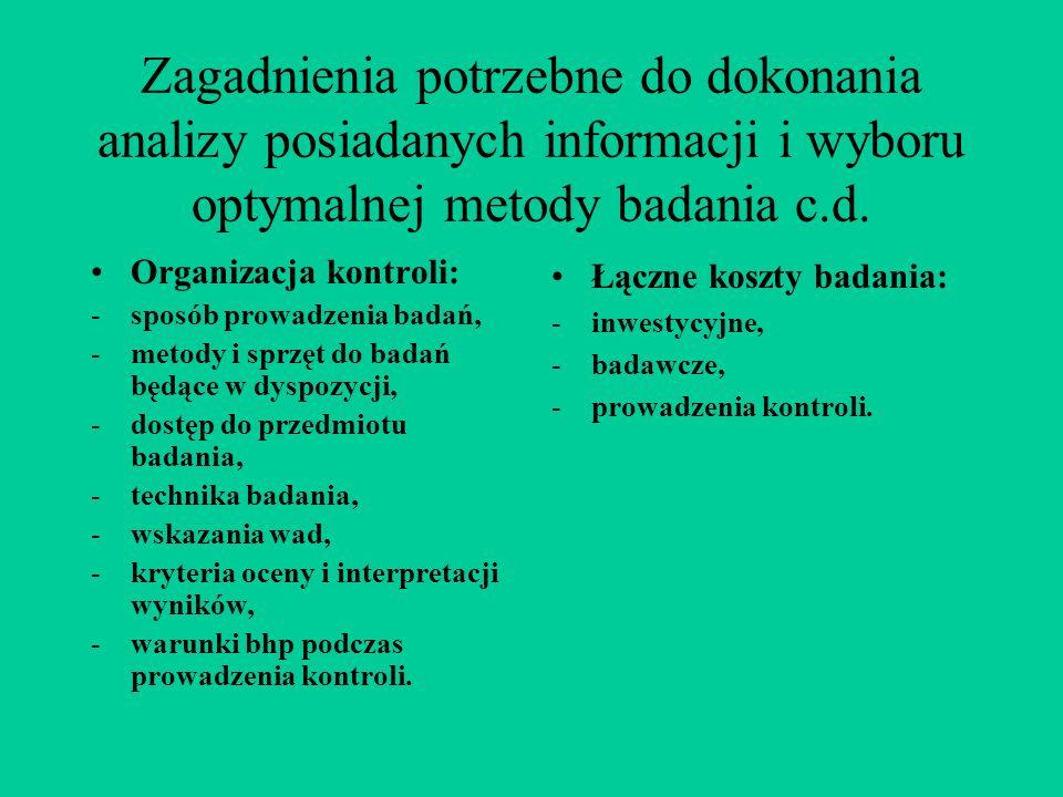 Zagadnienia potrzebne do dokonania analizy posiadanych informacji i wyboru optymalnej metody badania c.d. Organizacja kontroli: -sposób prowadzenia ba