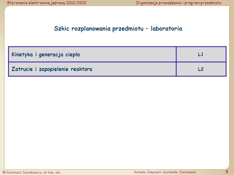 Sterowanie elektrownią jądrową 2012/2013Organizacja prowadzenia i program przedmiotu Kazimierz Duzinkiewicz, dr hab. inż. Katedra Inżynierii Systemów