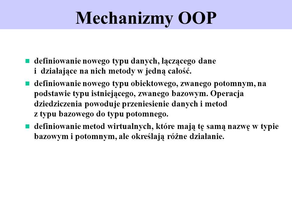 Mechanizmy OOP definiowanie nowego typu danych, łączącego dane i działające na nich metody w jedną całość. definiowanie nowego typu obiektowego, zwane