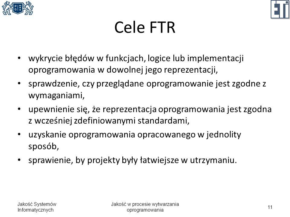 Cele FTR wykrycie błędów w funkcjach, logice lub implementacji oprogramowania w dowolnej jego reprezentacji, sprawdzenie, czy przeglądane oprogramowan
