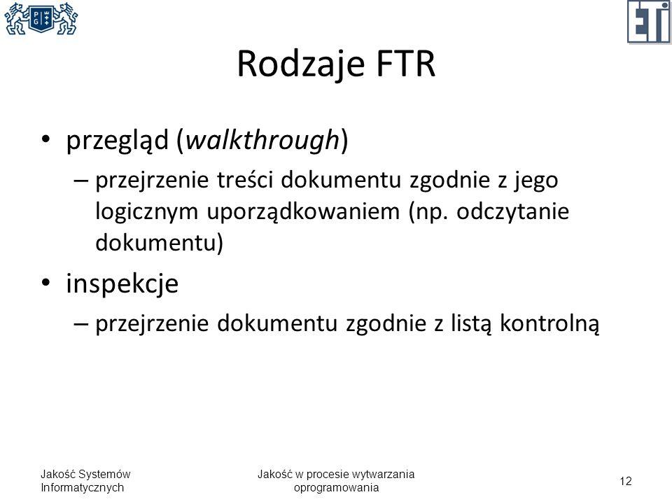 Rodzaje FTR przegląd (walkthrough) – przejrzenie treści dokumentu zgodnie z jego logicznym uporządkowaniem (np. odczytanie dokumentu) inspekcje – prze