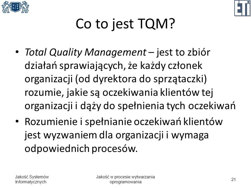 Co to jest TQM? Total Quality Management – jest to zbiór działań sprawiających, że każdy członek organizacji (od dyrektora do sprzątaczki) rozumie, ja