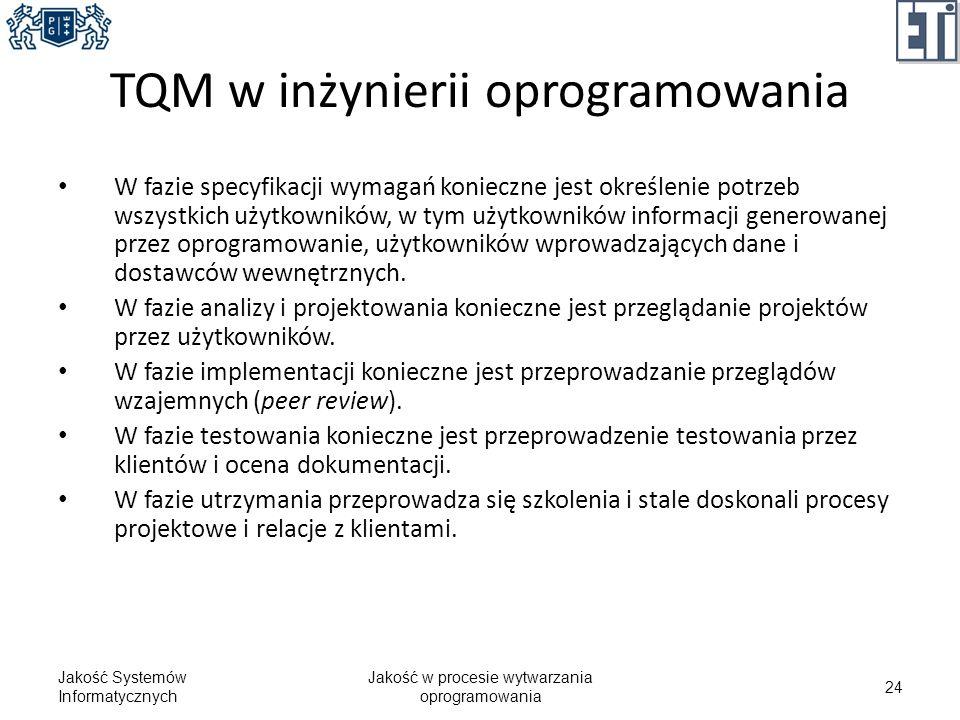 TQM w inżynierii oprogramowania W fazie specyfikacji wymagań konieczne jest określenie potrzeb wszystkich użytkowników, w tym użytkowników informacji