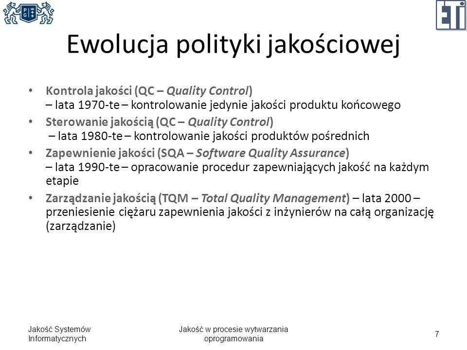 Proces dla Quality Control Jakość Systemów Informatycznych Jakość w procesie wytwarzania oprogramowania 8 Specyfikacja wymagań Analiza Projektowanie Implementacja Testowanie QC Kontrola jakości produktów pośrednich jest nieefektywna.