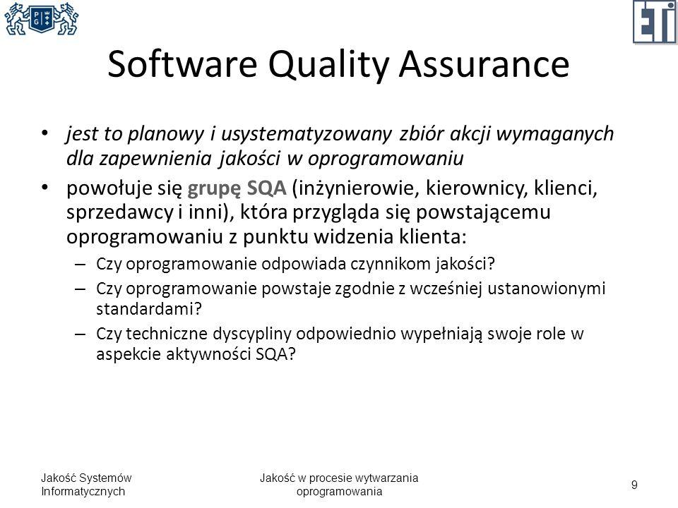 Proces dla SQA Jakość Systemów Informatycznych Jakość w procesie wytwarzania oprogramowania 20 Specyfikacja wymagań Analiza Projektowanie Implementacja Testowanie FTR Jakość produktu kontroluje się wielokrotnie na każdym etapie prac FTR Jak dowiodła praktyka SQA wcale nie zapewnia wysokiej jakości!