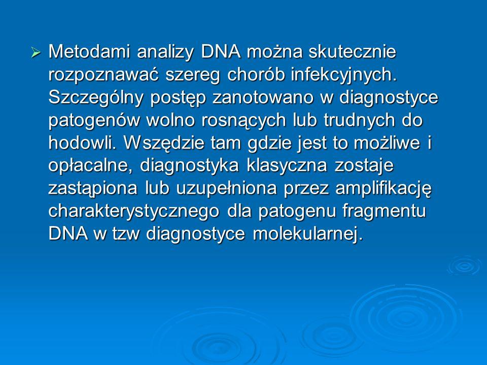 Metodami analizy DNA można skutecznie rozpoznawać szereg chorób infekcyjnych. Szczególny postęp zanotowano w diagnostyce patogenów wolno rosnących lub