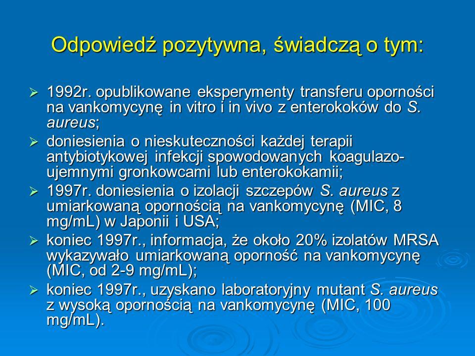 Odpowiedź pozytywna, świadczą o tym: 1992r. opublikowane eksperymenty transferu oporności na vankomycynę in vitro i in vivo z enterokoków do S. aureus