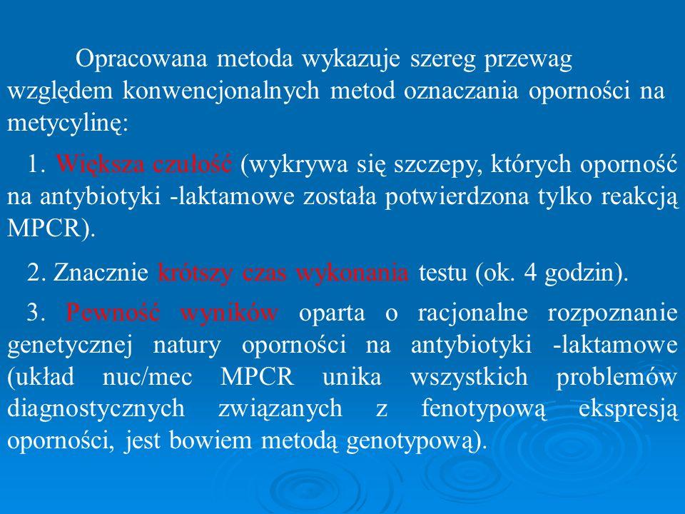 Opracowana metoda wykazuje szereg przewag względem konwencjonalnych metod oznaczania oporności na metycylinę: 1. Większa czułość (wykrywa się szczepy,