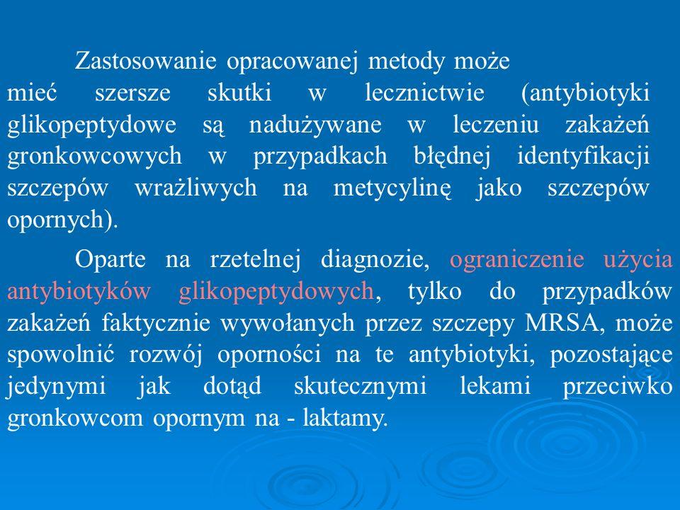 Zastosowanie opracowanej metody może mieć szersze skutki w lecznictwie (antybiotyki glikopeptydowe są nadużywane w leczeniu zakażeń gronkowcowych w pr