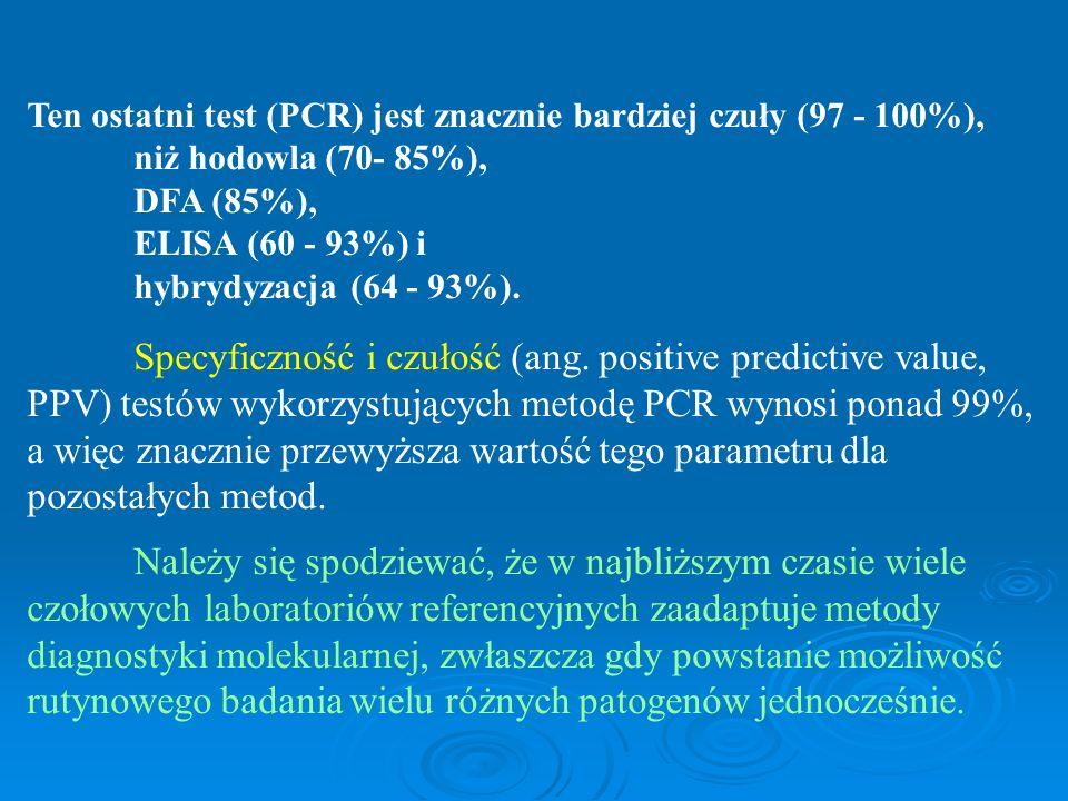 Ten ostatni test (PCR) jest znacznie bardziej czuły (97 - 100%), niż hodowla (70- 85%), DFA (85%), ELISA (60 - 93%) i hybrydyzacja (64 - 93%). Specyfi