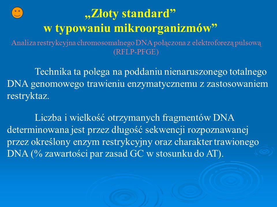 Złoty standard w typowaniu mikroorganizmów Analiza restrykcyjna chromosomalnego DNA połączona z elektroforezą pulsową (RFLP-PFGE) Technika ta polega n